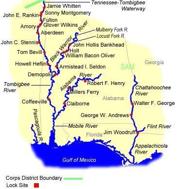 Routes TowboatTour - Tennessee waterways map