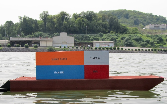 Scale Model container barge in Knoxville